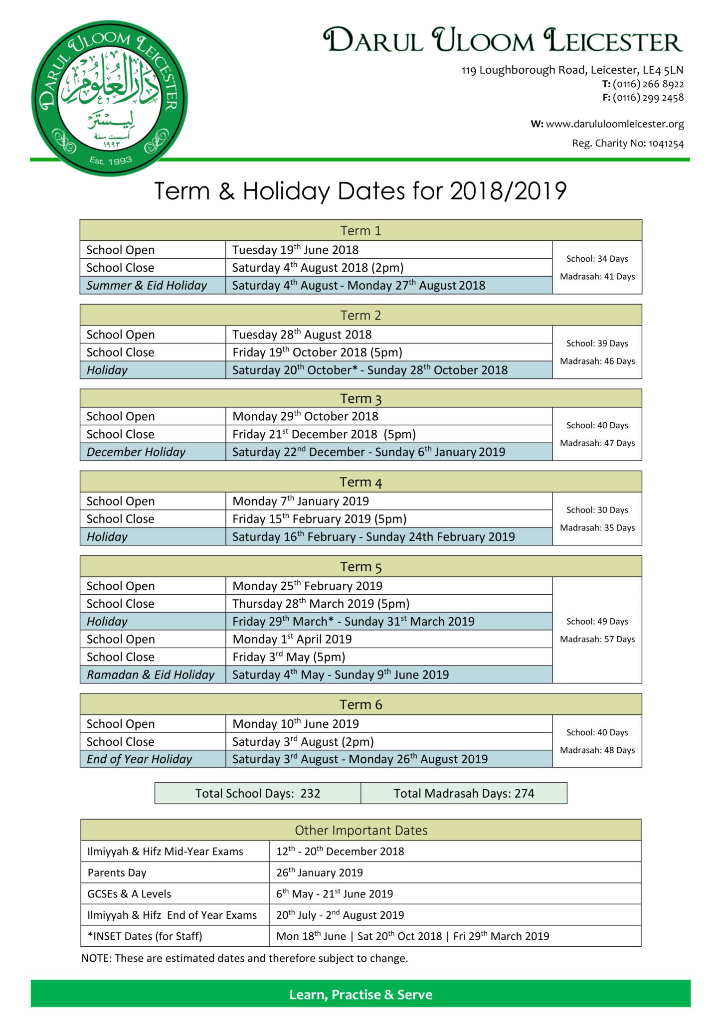 Calendar Darul Uloom Leicester